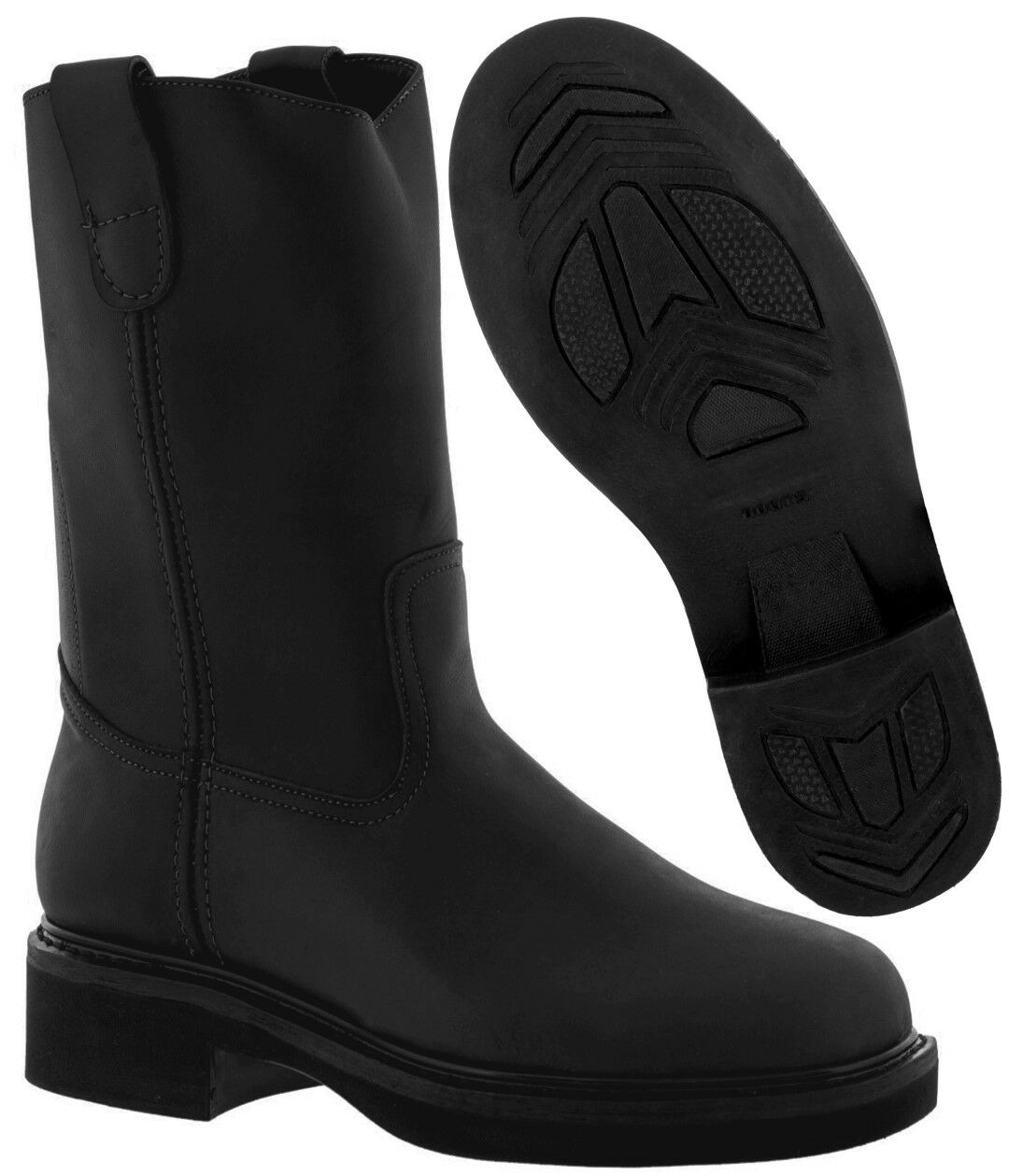 Men's Black Genuine Leather Pull On Work Boots Rubber Construction Style