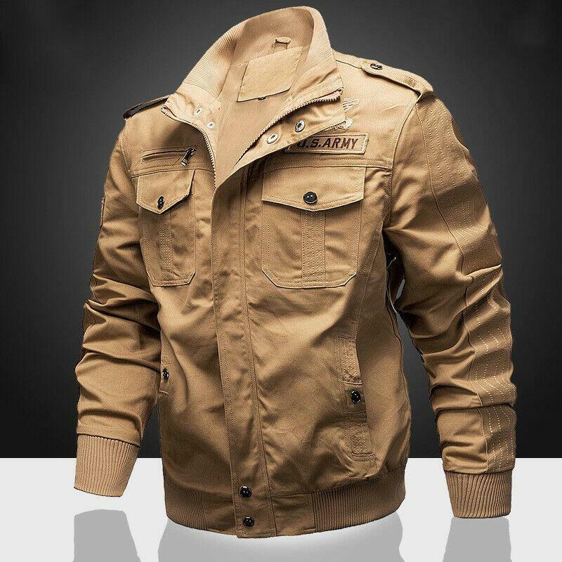 Para Hombre Chaqueta Militar al aire libre con cuello alto  Cochego piloto Cool abrigos Bomber Casual  alto descuento