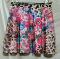 Rue 21 Skirt Junior Womans Size Medium Floral Leopard Lined