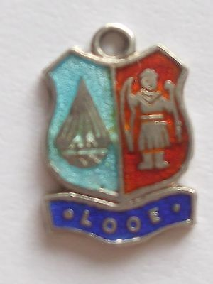 LOOE  small charm      vintage sterling silver shield enamel travel charm