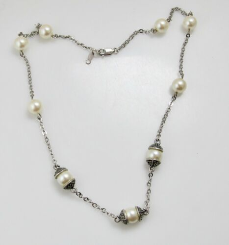 JUDITH JACK STERLING SILVER FAUX PEARL STATION NEC