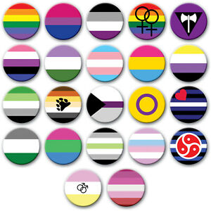 LGBTQ-PRIDE-FLAGS-BUTTON-BADGE-CHOICE-OF-SIZES-METAL-PIN-BACK-GAY-LESBIAN