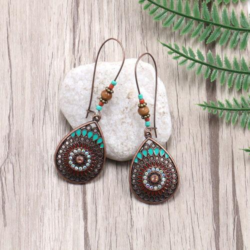 Boho India Ethnic Water Drip Hanging Dangle Drop Earrings Women Accessories LD