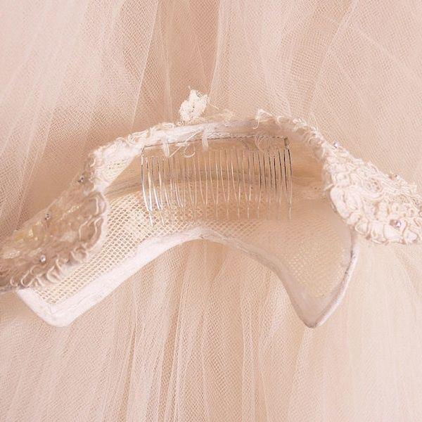 Vintage Wedding Veil Lace Headpiece 1950s 100 Inc… - image 7