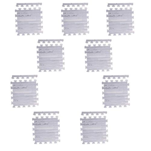 9pcs Foam Puzzle Exercise Mat Pad Interlocking Floor Tiles Gray Wood Grain