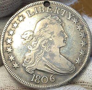 1806 DRAPED BUST SILVER HALF DOLLAR - VF - MULTIPLE DIE CRACKS REVERSE