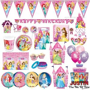 GIRLS  PARTY 6 DISNEY PRINCESS BALLOONS Birthday Girl LOOT BAG TOYS