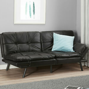 Details about MEMORY FOAM FUTON Convertible Sofa Bed Couch Black Sleeper  Lounge Living Room