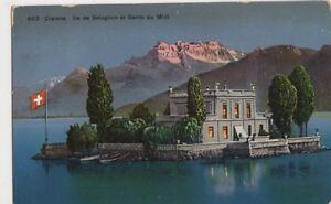 Switzerland-Clarens-Ile-de-Salagnon-et-Dents-du-Midi-1913-Postcard-B346