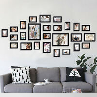 Us Black Wall Mounted Photo Frame 26 Pcs Wood Combination Art Home Decor Set