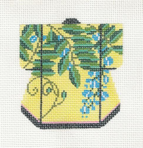 LEE Petite Kimono Blue Florals handpainted Needlepoint Canvas Ornament