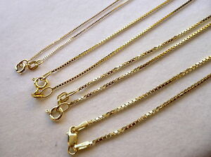 .50MM- 1MM 10K SOLID YELLOW GOLD BOX CHAIN WOMENS MENS NECKLACE CHAIN 16-24