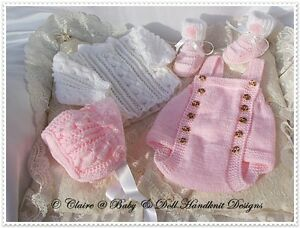 BABYDOLL-HANDKNIT-DESIGNS-KNITTING-PATTERN-ROMPER-SET-16-22-034-DOLL-OR-0-3M-BABY