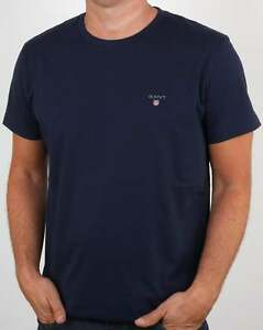 31ad64b08be Gant Solid Crew Neck T Shirt in Navy Blue - short sleeve cotton tee ...
