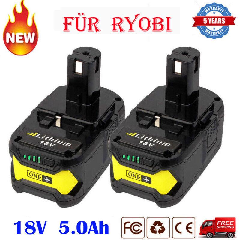 2x 5,0Ah 18 VOLT P108 für RYOBI 18V ONE PLUS Lithium-Ion High Capacity Akku P106