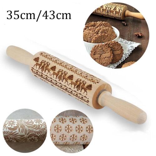 Christmas Pattern Wooden Rolling Pin Wood Embossed Elk Engraved Gift Baking Tool