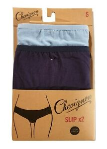 Lot de 2 Slips Culottes Femme Chevignon coton stretch bleu et bleu marine