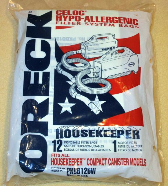 12 pk Oreck Canister PKBB12DW Celoc Hypo-Allergenic Buster B VACUUM FILTER BAGS