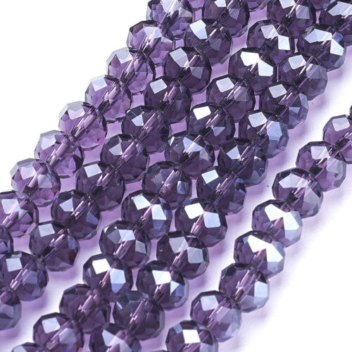 10Strd Indigo Glass Faceted Rondelle Beads Mini Spacer Pearl Luster Plated 8x6mm