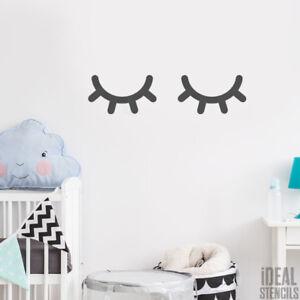 Details About Sleepy Eyes Stencil Nursery Decor Home Paint Walls Fabrics Furniture