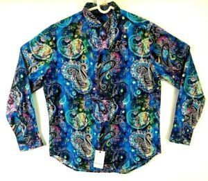 Robert-Graham-Paisley-Mens-Medium-Sport-Shirt-Blue-Multi-Color-Classic-Fit-198