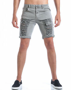 13eabfdf5b SHORTS MEN'S BERMUDA DIAMOND GREY RIPPED COTTON STRETCH SHORTS JEANS ...