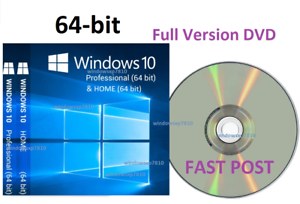 Windows 10 Professional 64-Bit + HOME PRO Bootable Installation DVD Full Version