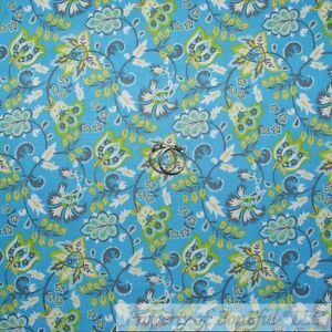 BonEful FABRIC FQ Cotton Quilt Aqua Blue Yellow White Small Daisy Flower Girl US
