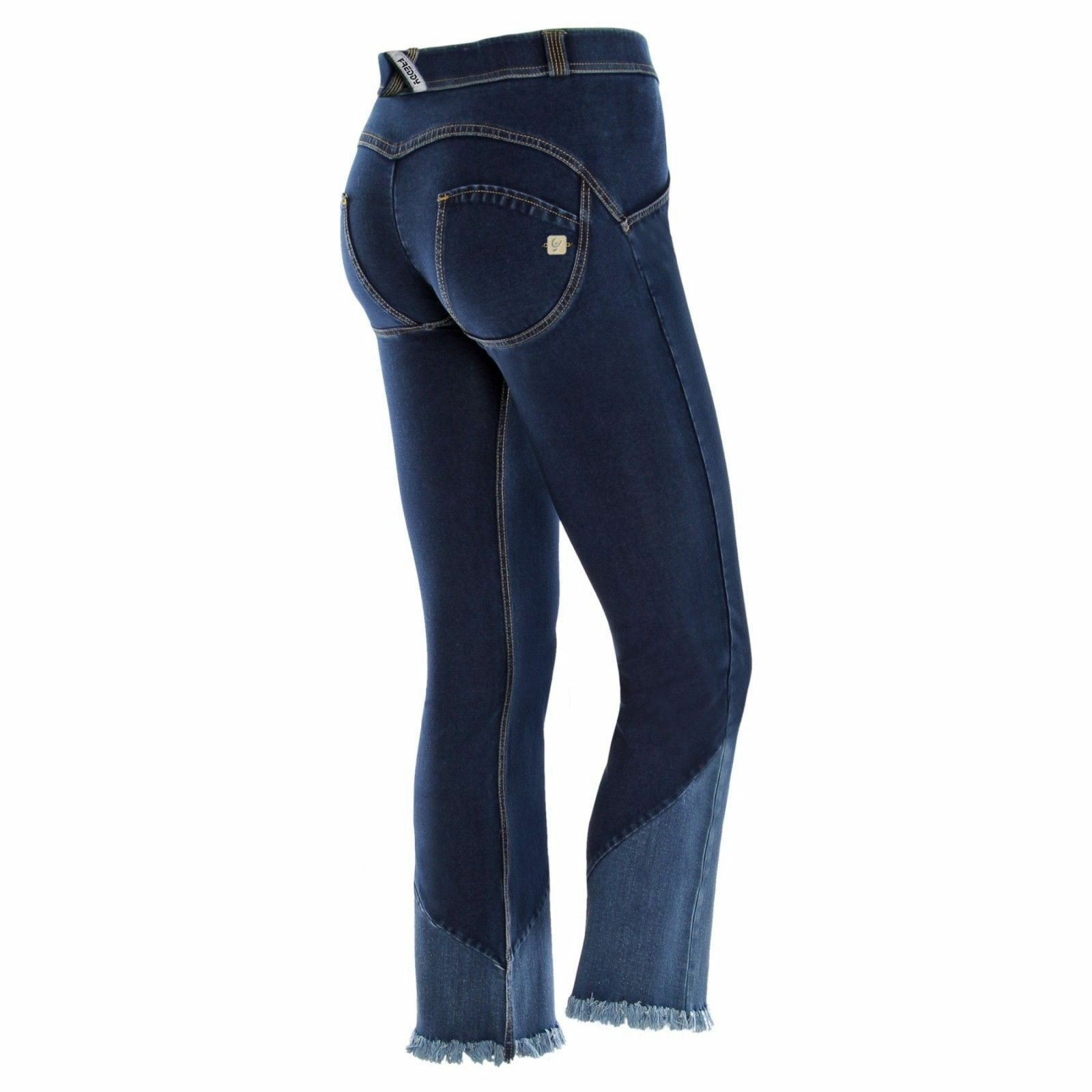 FREDDY WR.UP® PANT Mid Waist Full Length WR.UP Denim - Fringed Denim