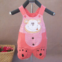 New Baby Girls Cotton Knee Length Monkey Summer Dungarees in 6-9,9-12 Months