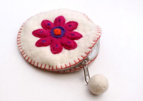 Round Flower Patchwork Colorful Felt Coin Purse