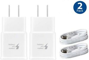 2Pack Fast Wall Charger Micro USB Cable For Samsung Galaxy S6 S7 Edge Note 5 S4