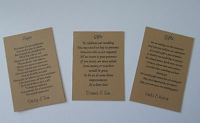 50  Poem Gift Cards for Wedding Money Cash Cheques Choice of 3 Brown Kraft