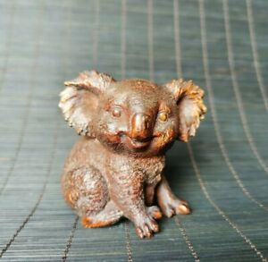 noble natural boxwood carved Lovely koala statue Netsuke table decor figurine
