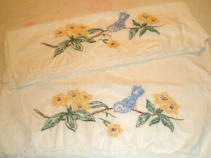 Vintage-Pillowcases-Bluebirds-in-Tree-with-Yellow-Blossoms