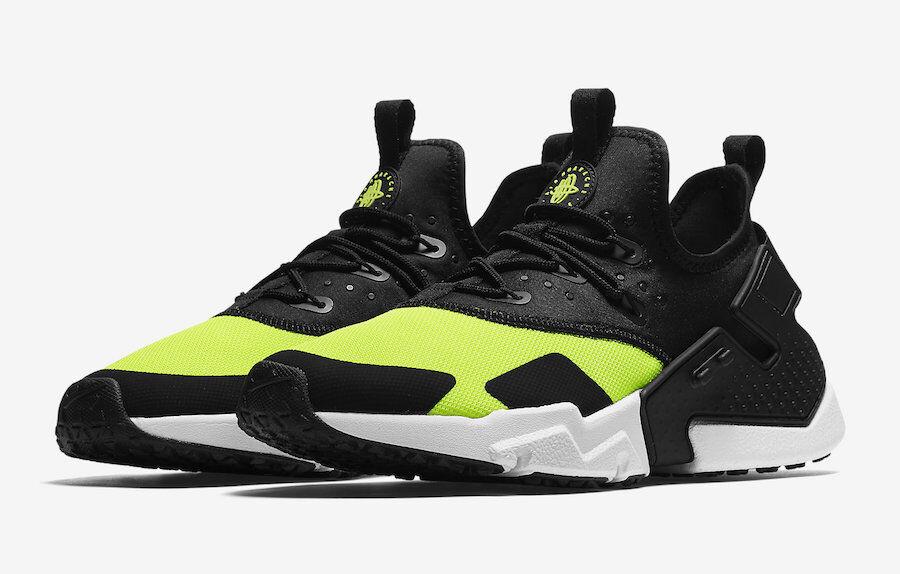 Brand New Nike Air Huarache Drift Run Shoes Volt Black White AH7334-700 Men's
