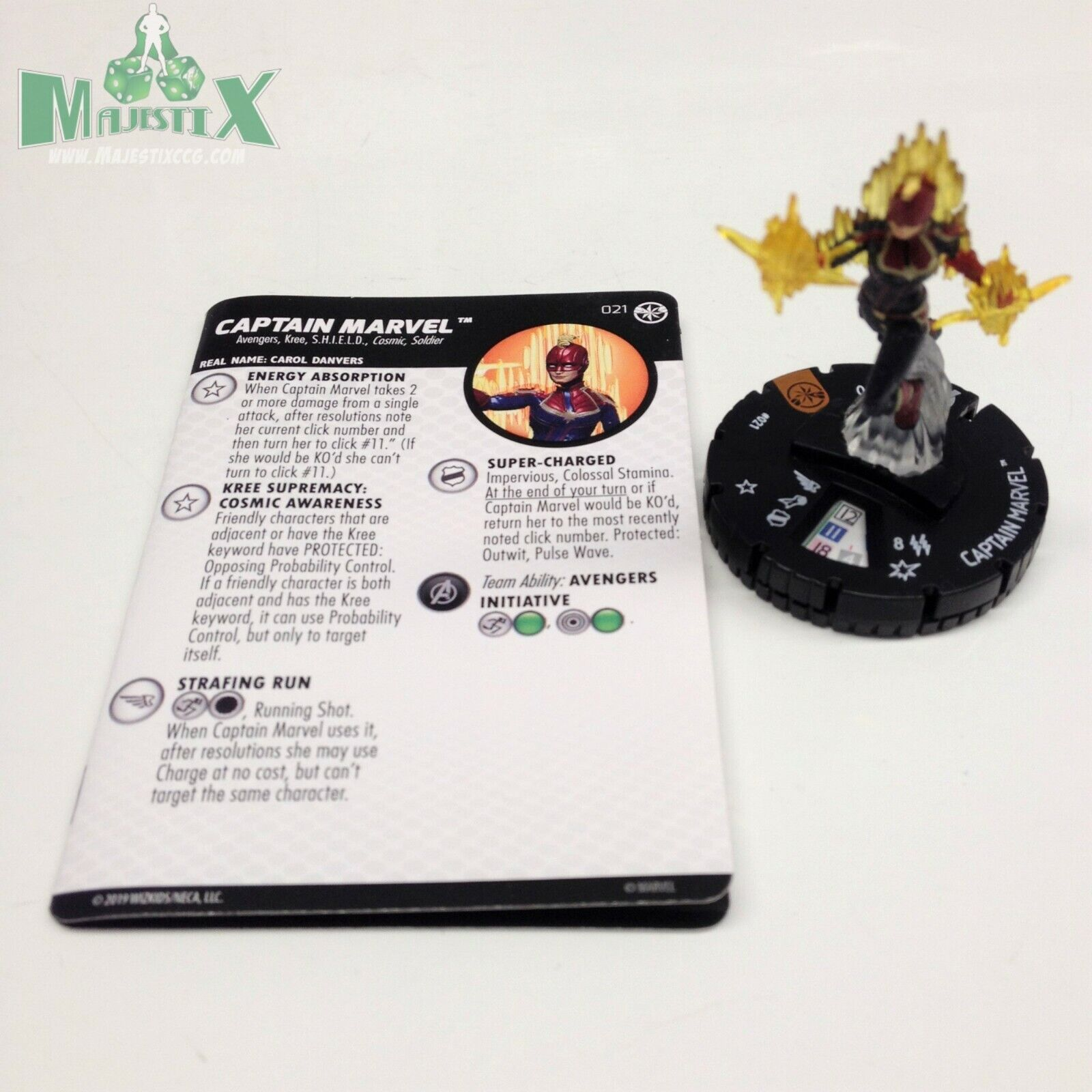 Heroclix Captain Marvel Movie set Captain Marvel Chase figure w card