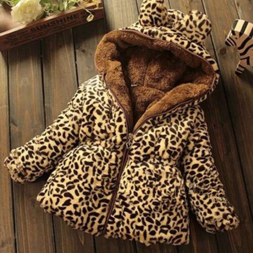Winter Kleinkind Mädchen Warm Kapuzenmantel Leopard Outerwea Kinder Jacke