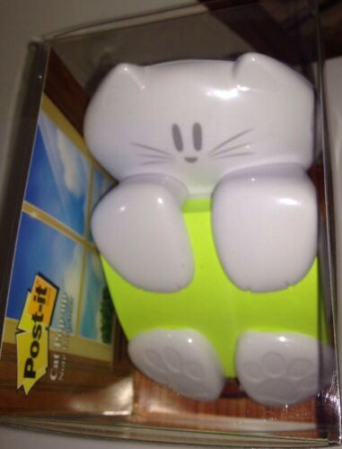 """Post-It White Cat Refillable Weighted Pop-Up 3/"""" X 3/"""" Paper Note Dispenser BNIB"""