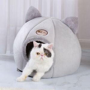 Large-Cat-Bed-Cave-Wool-Cozy-Pet-Dog-Igloo-Bed-Warm-House-Nest-Kennel-Grey-M-L
