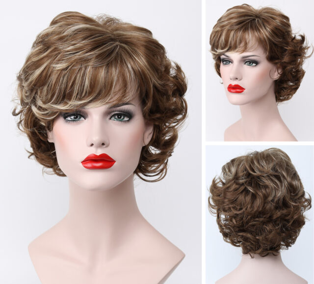 Charming Light Golden Brown Mix Short Curly Fluffy Bangs Women Everyday Full Wig