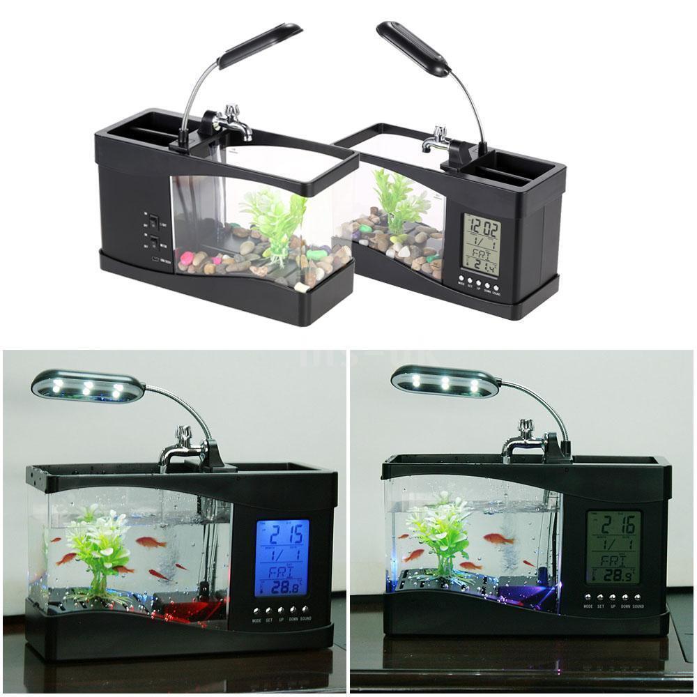 Office Mini Aquarium Fish Tank Aquarium LED Lamp Time Thermometer LCD Display