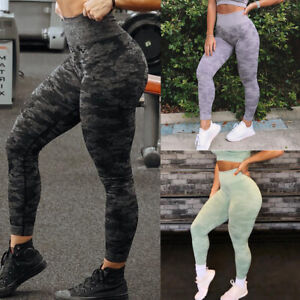 Women's Seamless Camo Yoga Leggings Pants High Waisted Sports Running Fitness G2