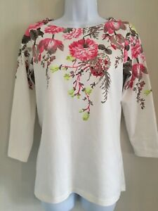 JOULES-WHITE-PINK-FLOWERED-LONG-SLEEVED-JERSEY-TOP-UK-8-EXCELLENT-CONDITION