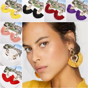 2018-Women-039-s-Bohemia-Earrings-Long-Tassel-Fringe-Boho-Hook-Drop-Dangle-Earrings