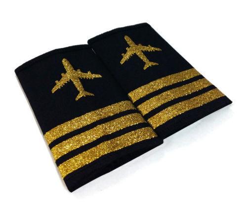 F//O Shoulder Board Epaulet w// Gold 3 Bars Airplane First Officer Pilot Epaulette