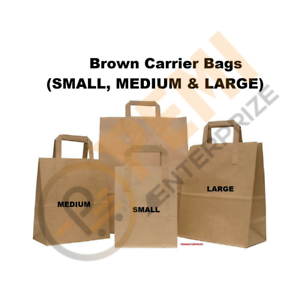 Kraft Paper SOS Carrier Bags Brown with Flat Handles /Takeaway /Gifts Quick Post