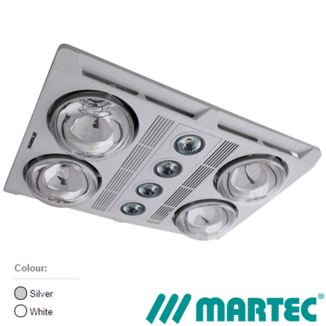 NEW MARTEC Profile Plus 4 Bathroom Heater Exhaust Fan LED Light Silver White