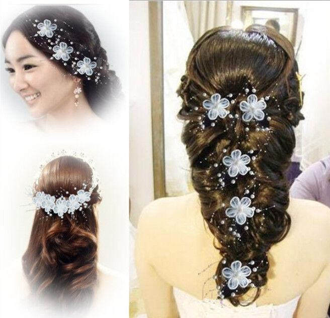 2 Stücke Wedding Bride Hair Ornaments Clip of Arrangement Flower Bead Panicles