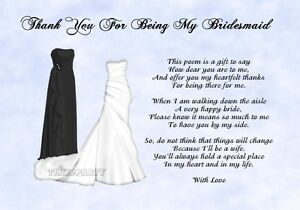 Image Is Loading A4 Thank You To My Bridesmaid Poem Wedding